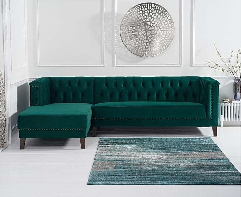 Mark Harris Tino Green Velvet Left Facing Chaise Sofa