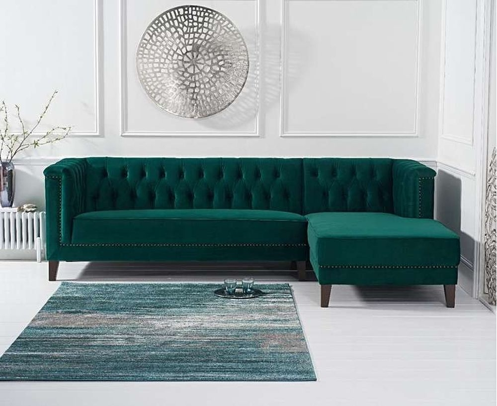 Mark Harris Tino Green Velvet Right Facing Chaise Sofa
