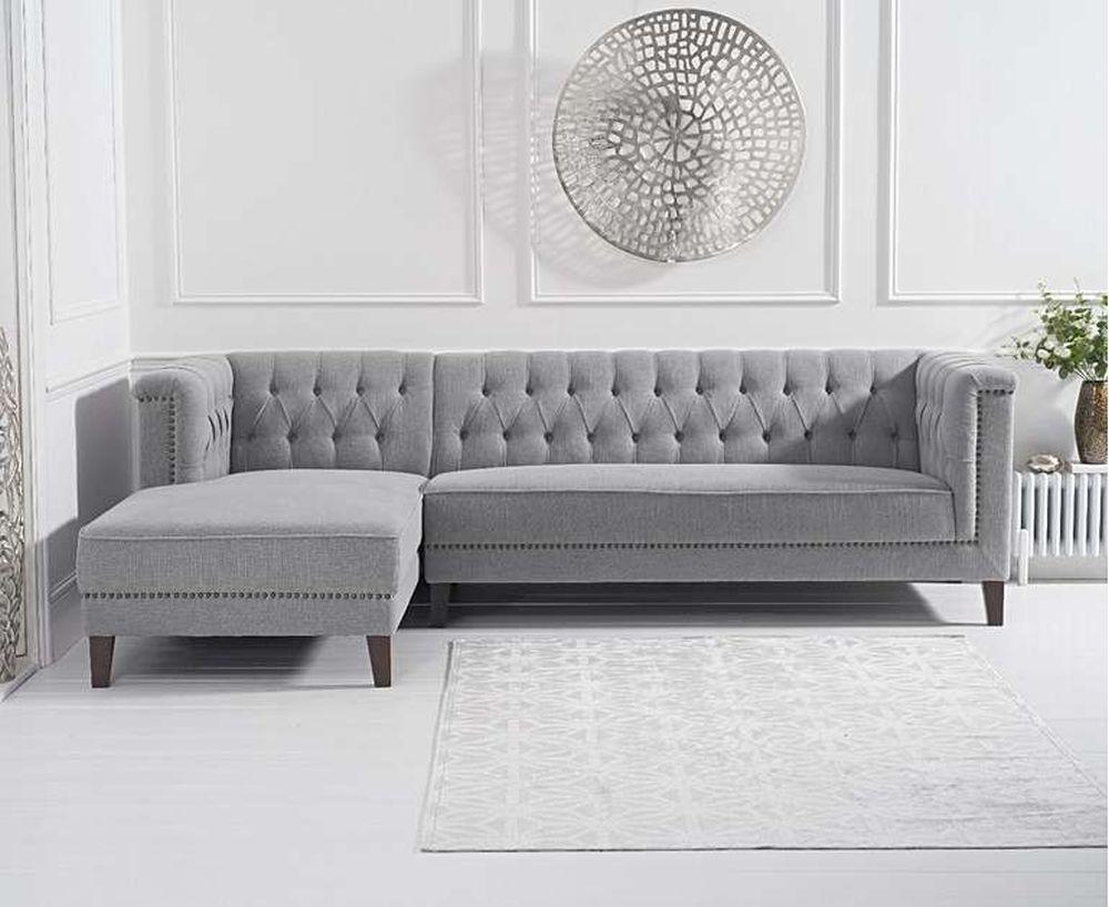 Mark Harris Tino Grey Linen Fabric Left Facing Chaise Sofa