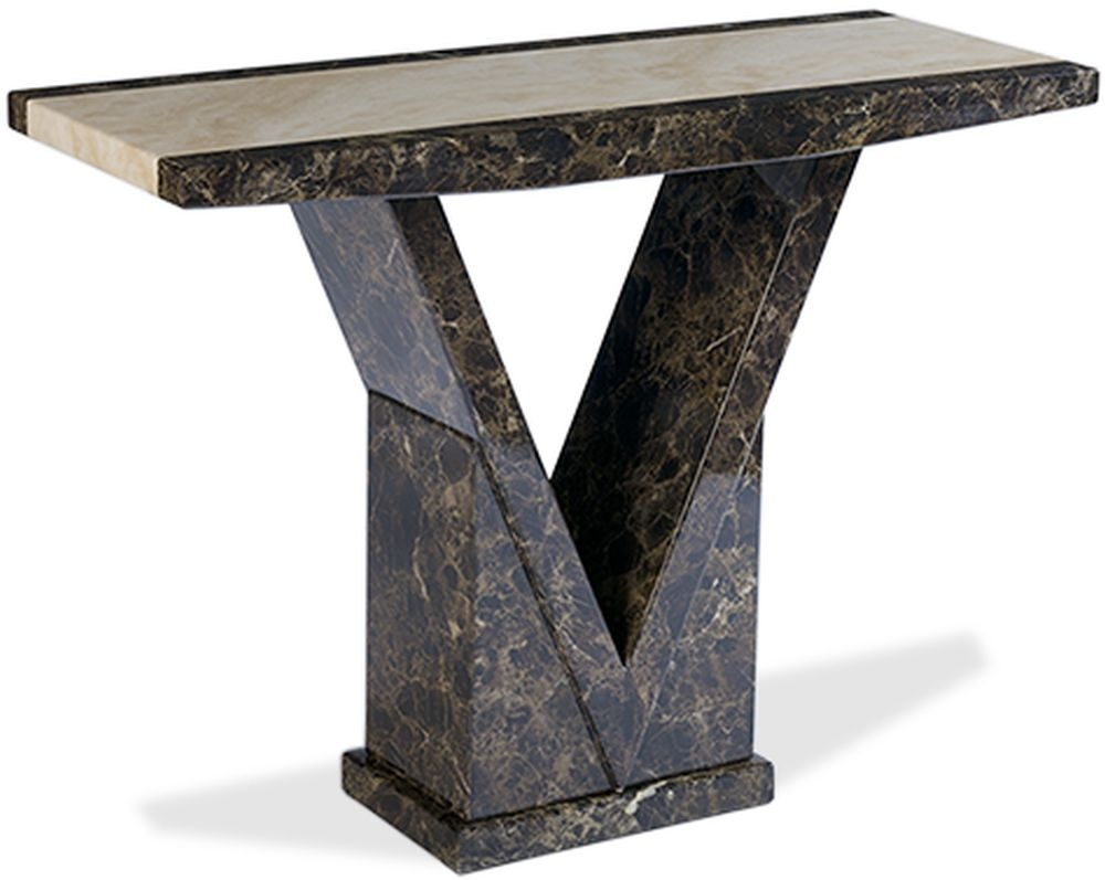 Mark Harris Toledo Marble Console Table - Brown and Cream