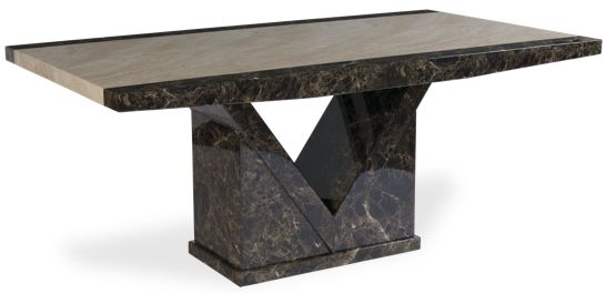 Mark Harris Toledo Marble Dining Table - Brown and Cream