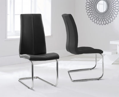 Mark Harris Tonia Black Faux Leather Dining Chair (Pair)