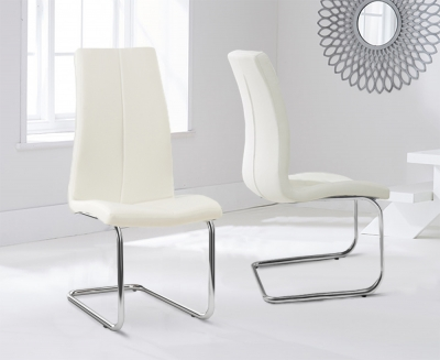 Mark Harris Tonia Cream Faux Leather Dining Chair (Pair)