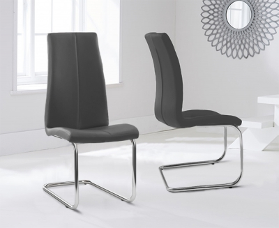 Mark Harris Tonia Grey Faux Leather Dining Chair (Pair)