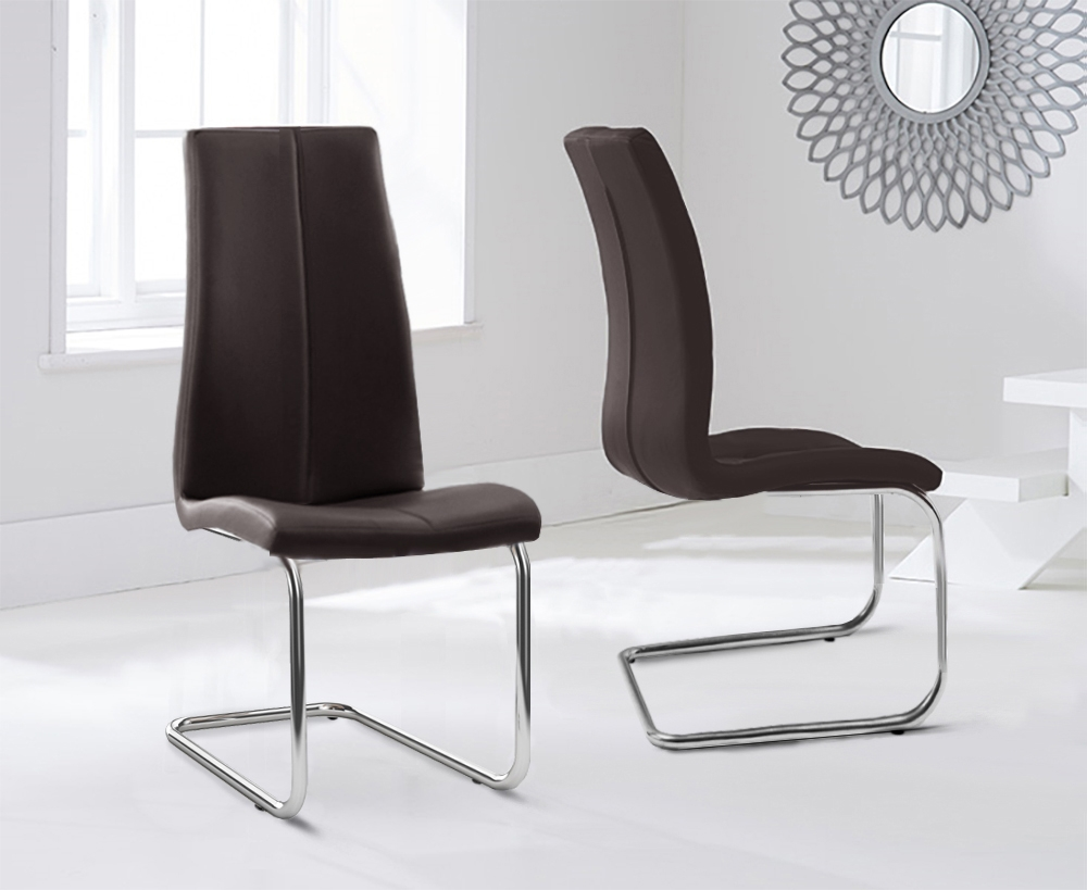 Mark Harris Tonia Brown Faux Leather Dining Chair (Pair)