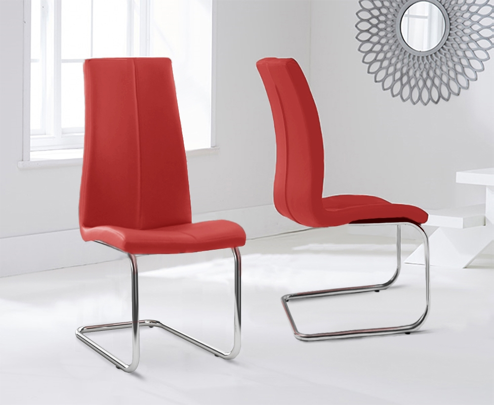 Mark Harris Tonia Red Faux Leather Dining Chair (Pair)