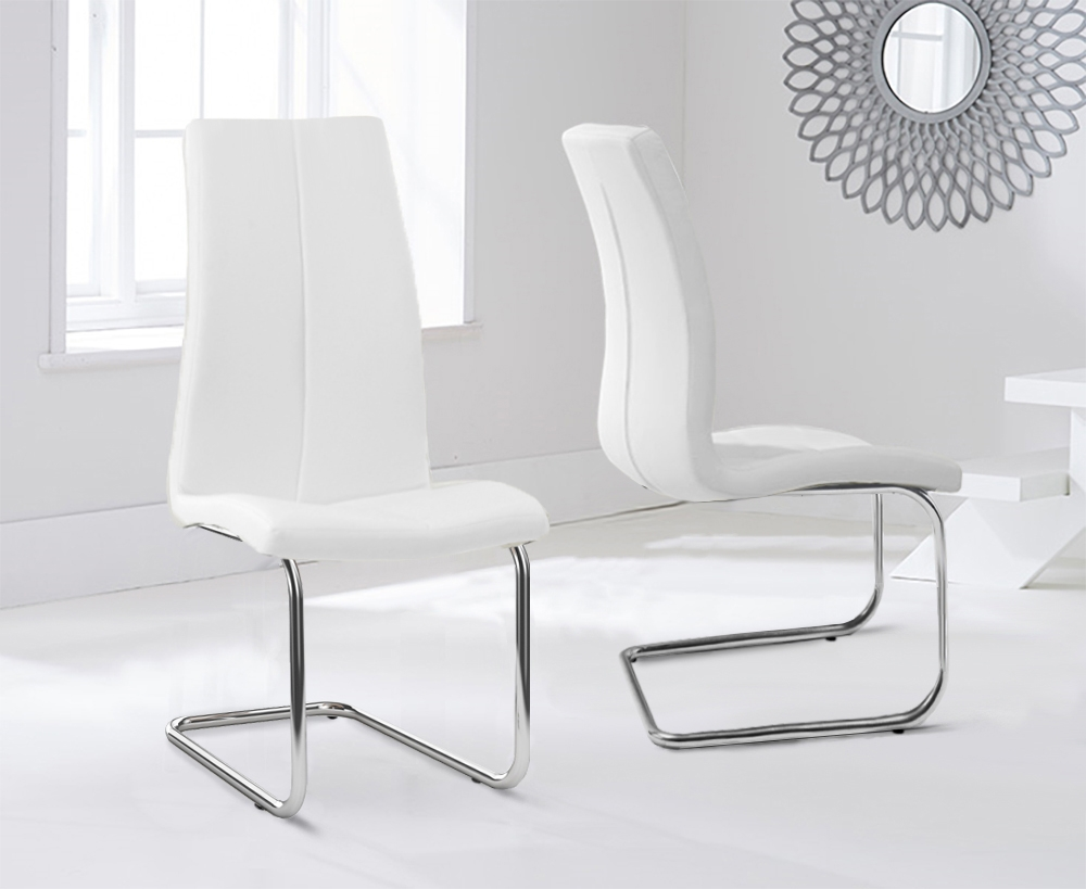 Mark Harris Tonia White Faux Leather Dining Chair (Pair)