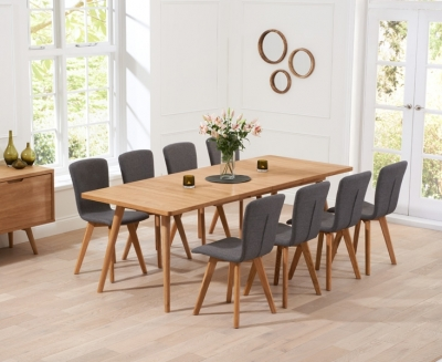 Mark Harris Tribeca Oak Large Extending Dining Table and 6 Charcoal Chairs