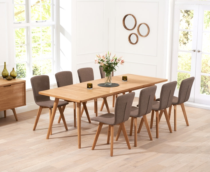 Mark Harris Tribeca Oak 200cm Extending Dining Set and 8 Brown Dining Chairs