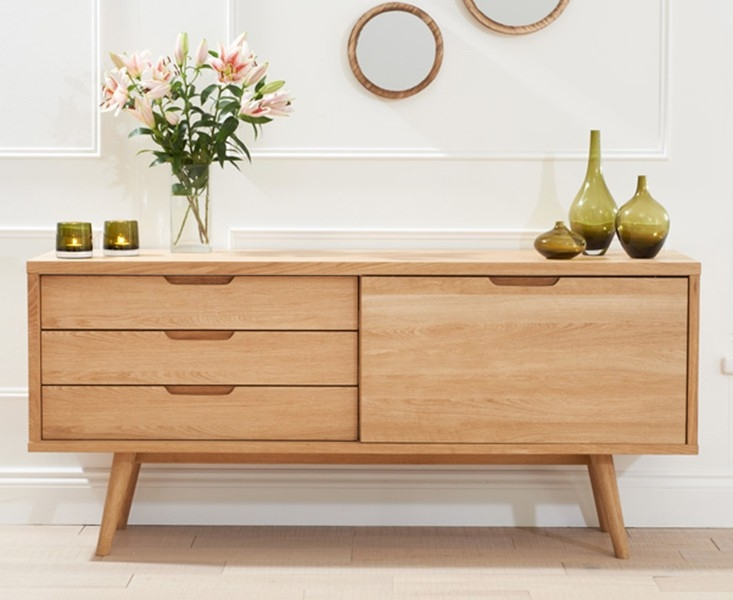 Mark Harris Tribeca Oak Sideboard - Large Wide 1 Door 3 Drawers
