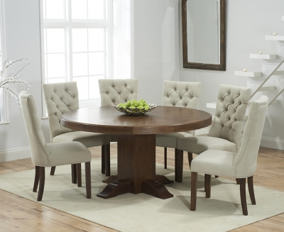 Mark Harris Turin Solid Dark Oak 150cm Round Pedestal Dining Set with 6 Albury Beige Dining Chairs