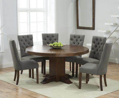 Mark Harris Turin Solid Dark Oak 150cm Round Pedestal Dining Set with 6 Albury Grey Dining Chairs