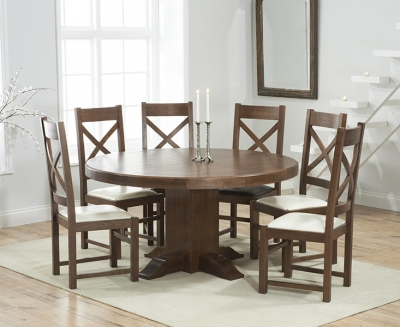 Mark Harris Turin Solid Dark Oak 150cm Round Pedestal Dining Set with 6 Centerbury Cream Dining Chairs