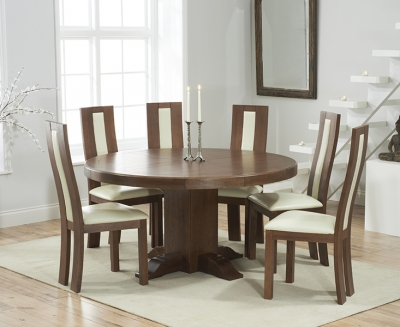 Mark Harris Turin Solid Dark Oak 150cm Round Pedestal Dining Set with 6 Havana Cream Dining Chairs