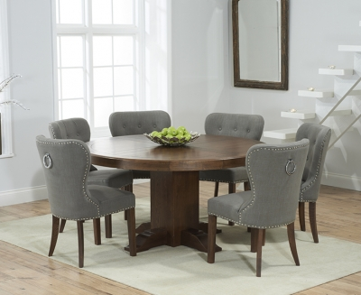 Mark Harris Turin Solid Dark Oak 150cm Round Pedestal Dining Table with 6 Kalim Grey Chairs