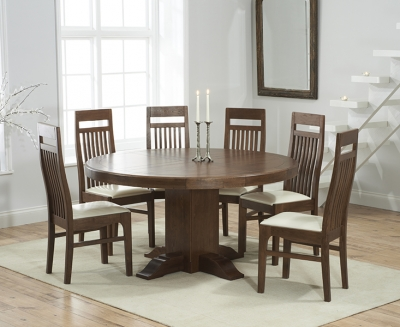 Mark Harris Turin Solid Dark Oak 150cm Round Pedestal Dining Set with 6 Monte Carlo Cream Dining Chairs