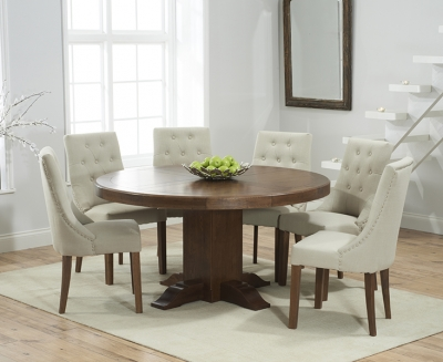 Mark Harris Turin Solid Dark Oak 150cm Round Pedestal Dining Set with 6 Pailin Beige Dining Chairs