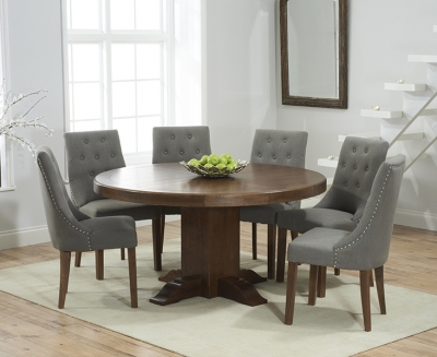 Mark Harris Turin Solid Dark Oak 150cm Round Pedestal Dining Set with 6 Pailin Grey Dining Chairs