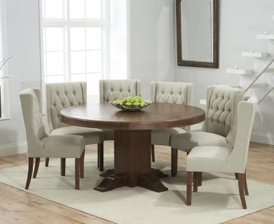 Mark Harris Turin Solid Dark Oak 150cm Round Pedestal Dining Table with 6 Stefini Beige Chairs
