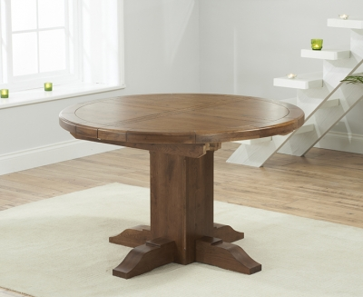 Mark Harris Turin Solid Dark Oak Dining Table - 125cm Round Extending