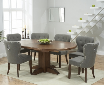 Mark Harris Turin Solid Dark Oak Round Extending Dining Set with 6 Kalim Grey Dining Chairs