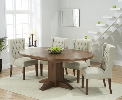 Mark Harris Turin Solid Dark Oak Round Extending Dining Set with 6 Stefini Beige Dining Chairs