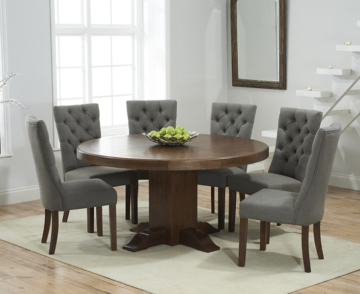 Mark Harris Turin Solid Dark Oak 150cm Round Pedestal Dining Table with 6 Albury Grey Chairs