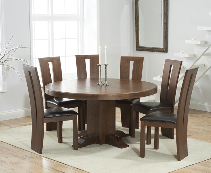Mark Harris Turin Solid Dark Oak 150cm Round Pedestal Dining Set with 6 Arizon Brown Dining Chairs