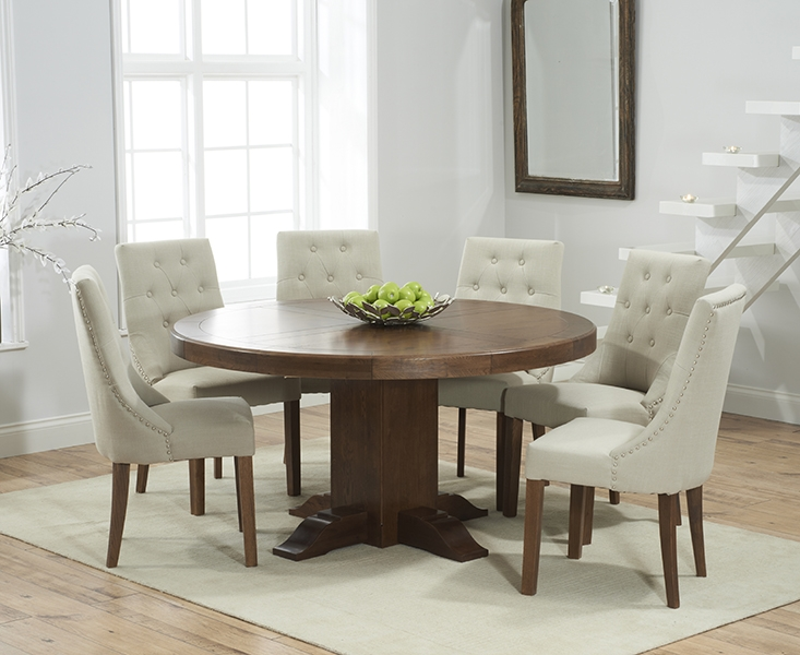 Mark Harris Turin Solid Dark Oak 150cm Round Pedestal Dining Table with 6 Pailin Beige Chairs