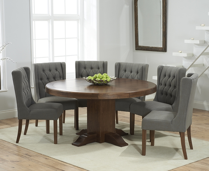 Mark Harris Turin Solid Dark Oak 150cm Round Pedestal Dining Table with 6 Stefini Grey Chairs