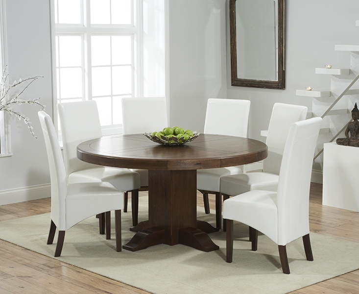 Mark Harris Turin Solid Dark Oak 150cm Round Pedestal Dining Table with 6 WNG Ivory Chairs