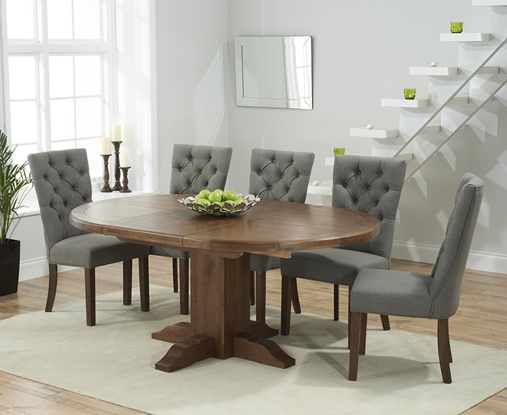 Mark Harris Turin Solid Dark Oak Round Extending Dining Table with 6 Albury Grey Chairs