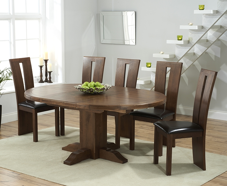 Mark Harris Turin Solid Dark Oak Round Extending Dining Table with 6 Arizon Brown Chairs