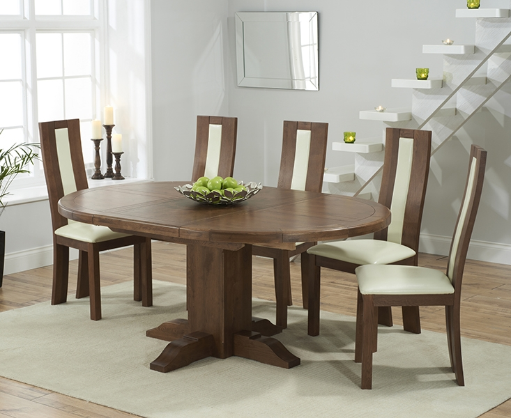 Buy Mark Harris Turin Solid Dark Oak Round Extending Dining Set With 6 Havana