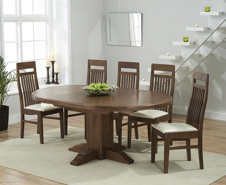 Mark Harris Turin Solid Dark Oak Round Extending Dining Table with 6 Monte Carlo Cream Chairs