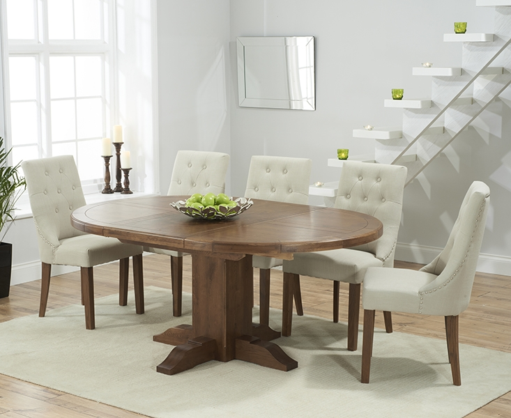 Mark Harris Turin Solid Dark Oak Round Extending Dining Table with 6 Pailin Beige Chairs