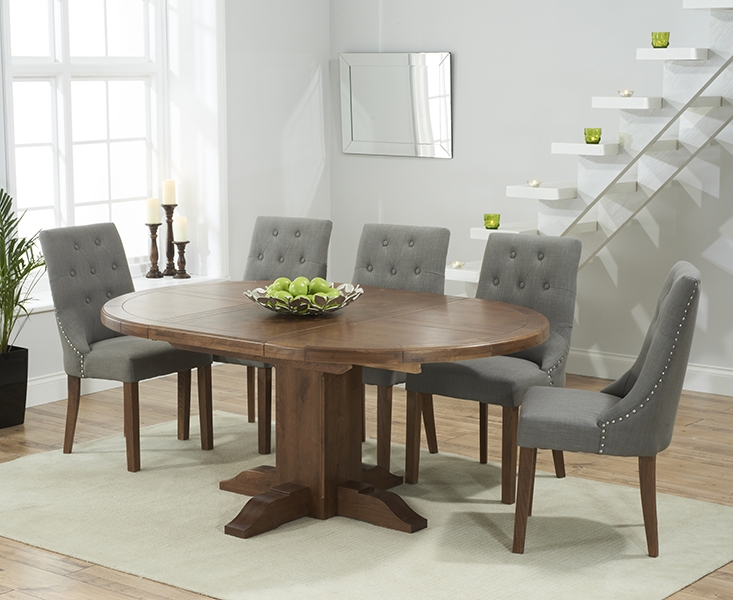 Mark Harris Turin Solid Dark Oak Round Extending Dining Set with 6 Pailin Grey Dining Chairs