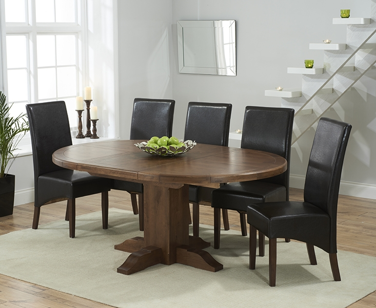 Mark Harris Turin Solid Dark Oak Round Extending Dining Set with 6 WNG Brown Dining Chairs