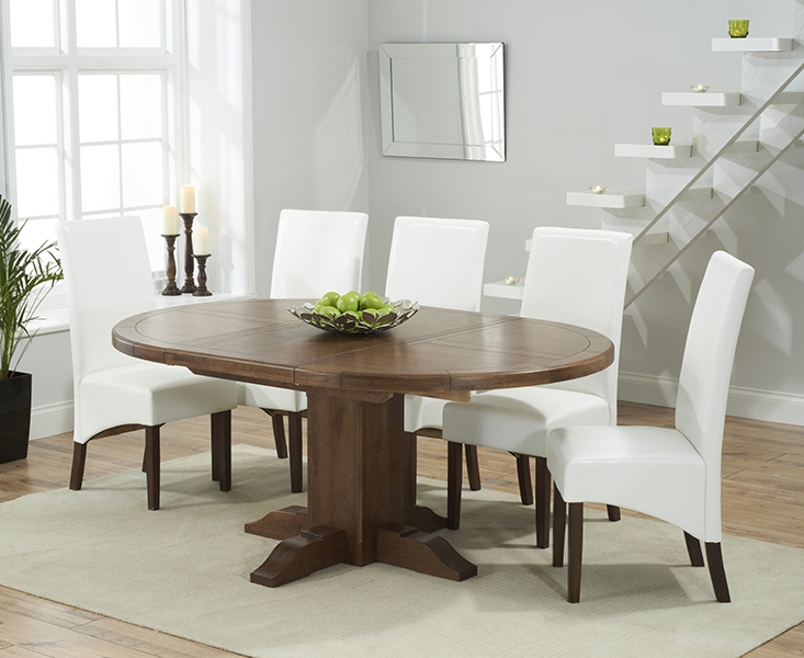 Mark Harris Turin Solid Dark Oak Round Extending Dining Set with 6 WNG Ivory Dining Chairs