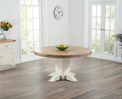 Mark Harris Turin Oak and Cream Round Dining Table