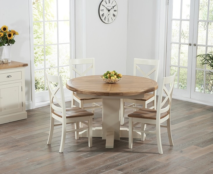 Mark Harris Turin Oak and Cream Dining Set - 125cm Round Extending with 4 Cavanaugh Chairs