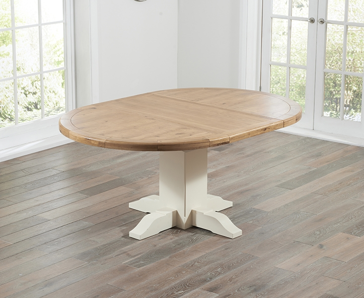 Mark Harris Turin Oak and Cream Dining Table - 125cm Round Extending