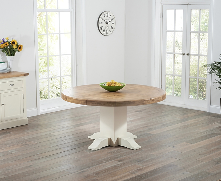 Mark Harris Turin Oak and Cream Round Dining Table - 150cm