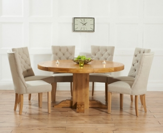 Mark Harris Turin Solid Oak 150cm Round Dining Table with 6 Albury Beige Chairs