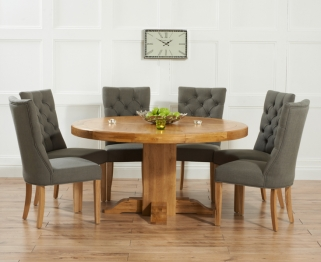 Mark Harris Turin Solid Oak 150cm Round Dining Table with 6 Albury Grey Chairs