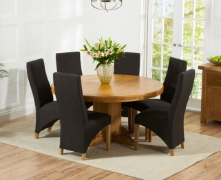 Mark Harris Turin Solid Oak 150cm Round Dining Set with 6 Harley Charcoal Dining Chairs