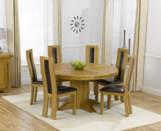 Mark Harris Turin Solid Oak 150cm Round Dining Table with 6 Havana Brown Chairs