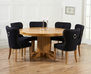 Mark Harris Turin Solid Oak 150cm Round Dining Set with 6 Kalim Black Dining Chairs