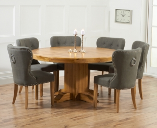 Mark Harris Turin Solid Oak 150cm Round Dining Set with 6 Kalim Grey Dining Chairs