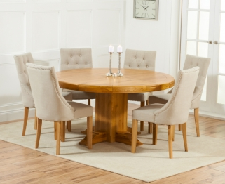 Mark Harris Turin Solid Oak 150cm Round Dining Table with 6 Pailin Beige Chairs